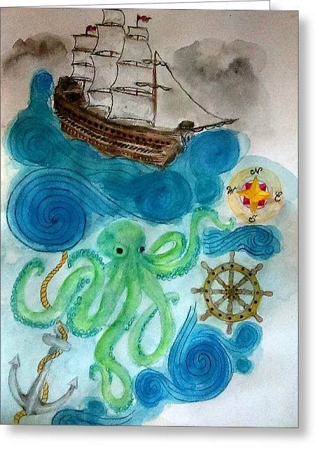 Pirate Ships Greeting Cards - Nautical Abstract Greeting Card by Jennie Hallbrown