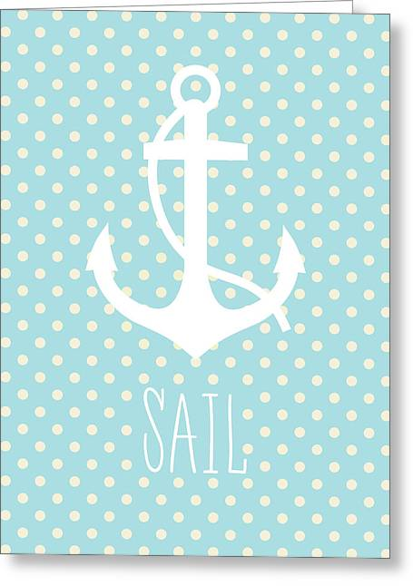 Nautical Anchor Art Print Greeting Card by Taylan Apukovska