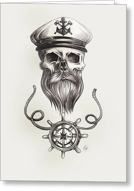 Steering Drawings Greeting Cards - Nautical bearded Skull Greeting Card by Jasmine Mills