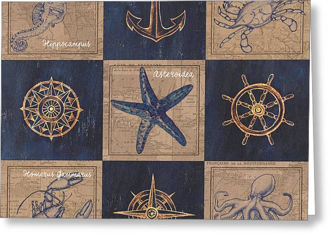Nautical Burlap Greeting Card by Debbie DeWitt