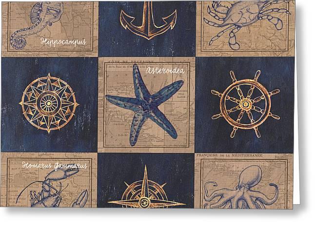 Nautical Burlap Greeting Card by Debbie DeWitt
