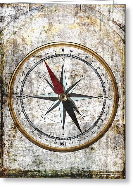 Aeronautical Greeting Cards - Nautical Compass Rose Greeting Card by Daniel Hagerman