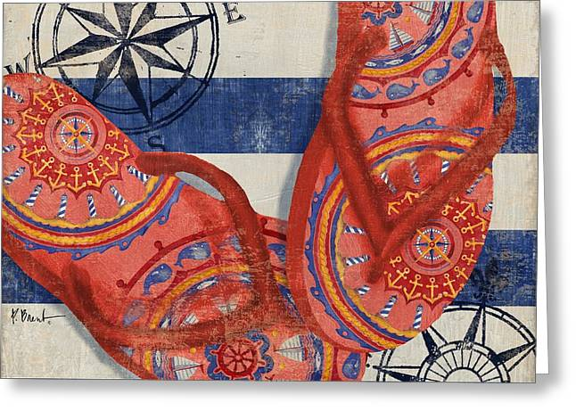 Flops Greeting Cards - Nautical Flip Flops I Greeting Card by Paul Brent