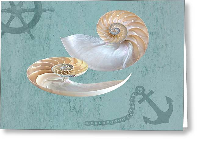 Surreal Geometric Greeting Cards - Nautical Nautilus Greeting Card by Gill Billington