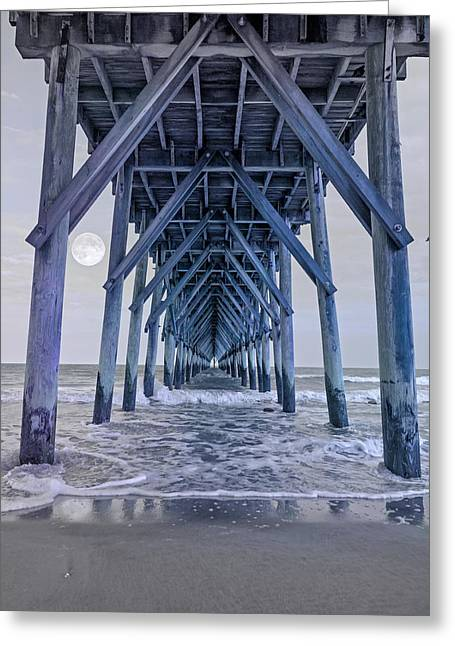 City Pier Greeting Cards - Nautical Night Light Greeting Card by Betsy C  Knapp