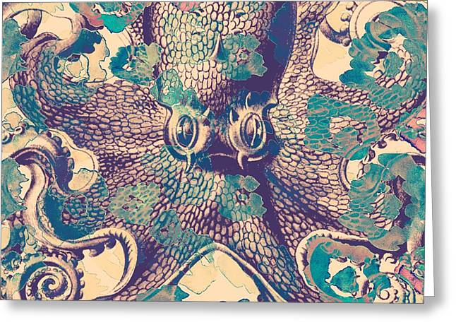 Nautical Octopus Greeting Card by Brandi Fitzgerald