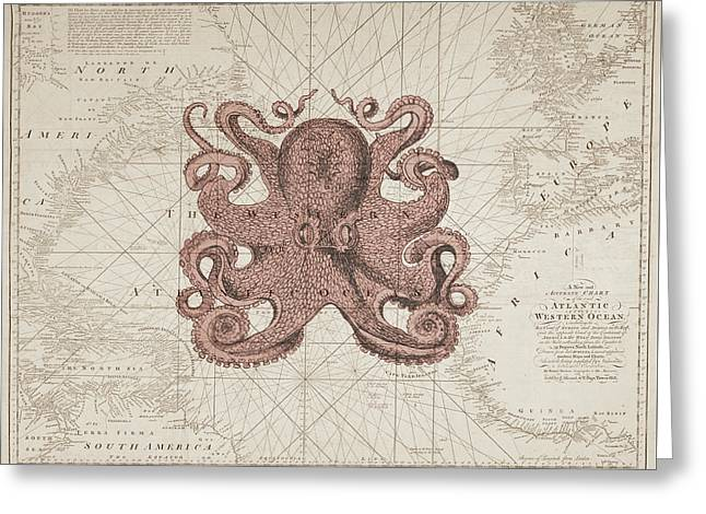 Nautical Octopus Sea Chart Greeting Card by Erin Cadigan
