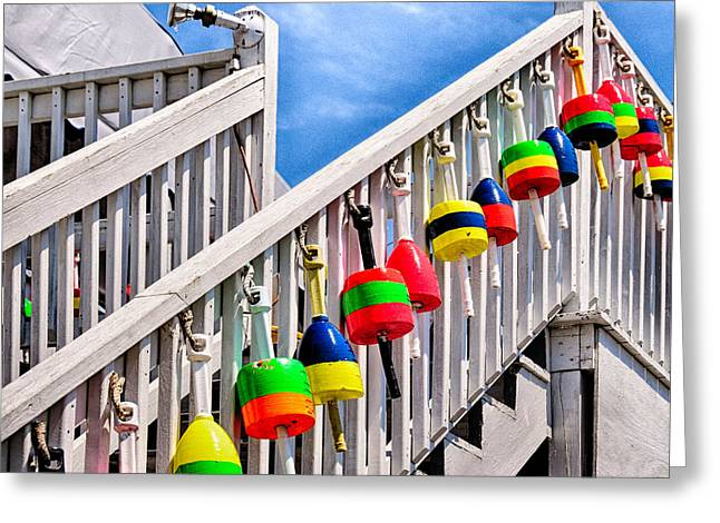Maine Shore Greeting Cards - Nautical Stairway Greeting Card by Tricia Marchlik