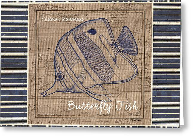 Nautical Stripes Butterfly Fish Greeting Card by Debbie DeWitt
