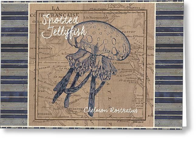 Nautical Stripes Jellyfish Greeting Card by Debbie DeWitt