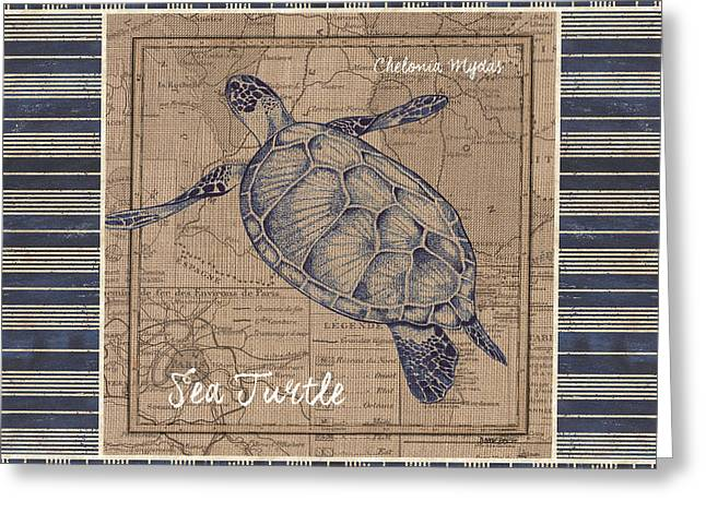 Nautical Stripes Sea Turtle Greeting Card by Debbie DeWitt