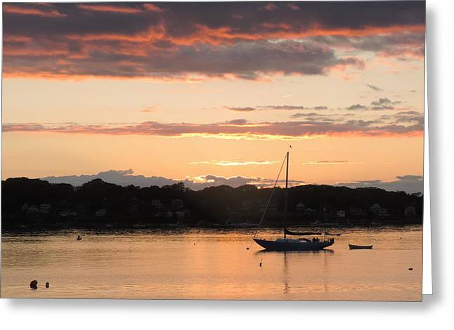 Sailboat Ocean Greeting Cards - Nautical Maine Sunset Greeting Card by Bill Tomsa