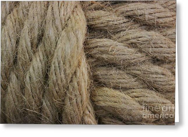 Nautical Tan Rope Greeting Card by Paulette Thomas