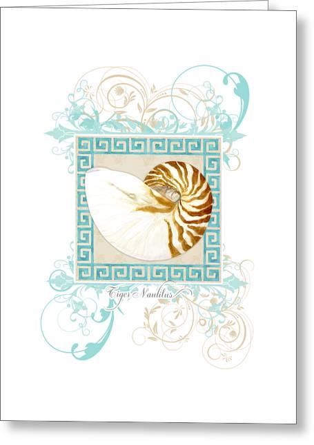 Photorealism Greeting Cards - Nautilus Shell Greek Key w Swirl Flourishes Greeting Card by Audrey Jeanne Roberts