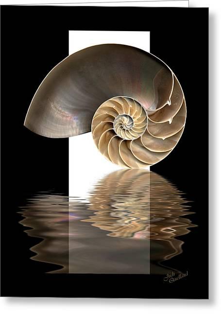 Ocean. Reflection Digital Art Greeting Cards - Nautilus Shell Greeting Card by Judi Quelland