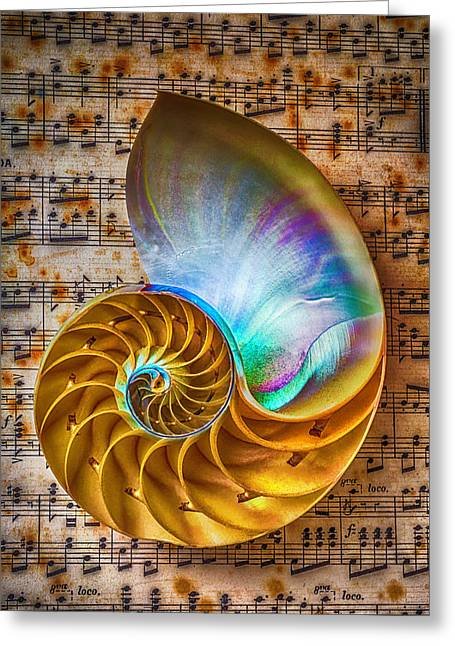Nautilus Shell On Sheet Music Greeting Card by Garry Gay