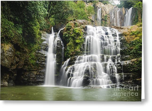 Costa Rica Greeting Cards - Nauyuca Falls Greeting Card by Oscar Gutierrez