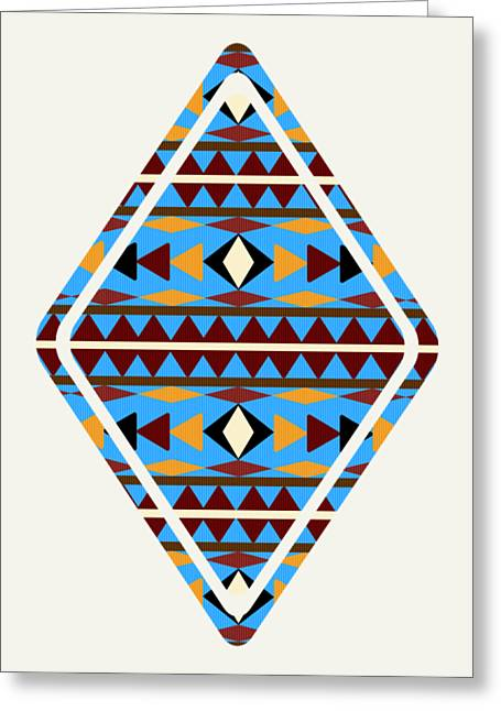Navajo Blue Pattern Art Greeting Card by Christina Rollo