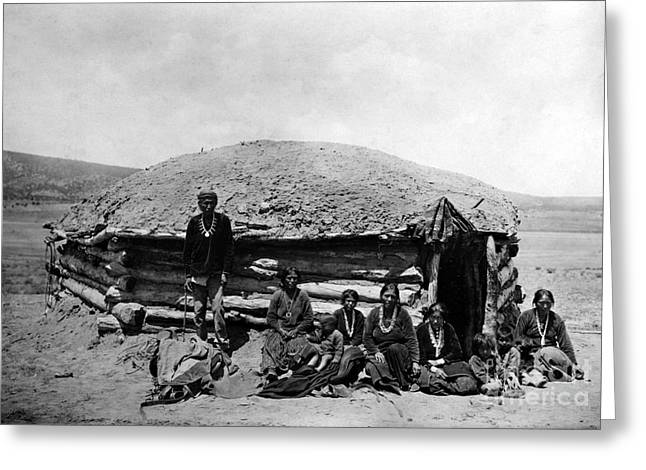 Early American Dwellings Greeting Cards - NAVAJO DWELLING, c1906 Greeting Card by Granger