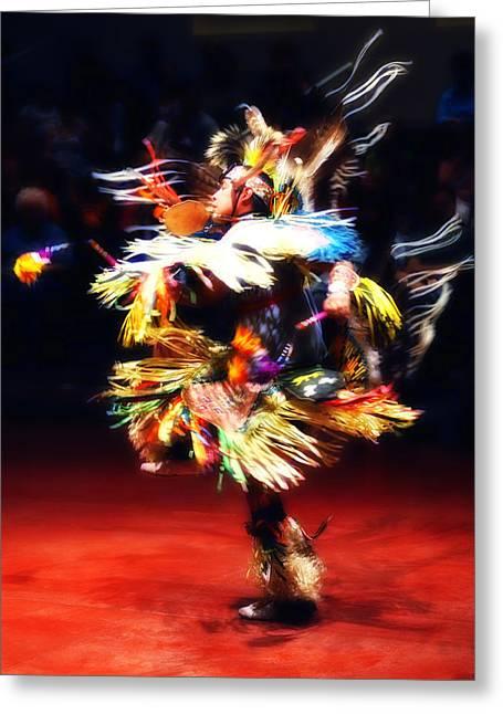 Fancy-dancer Digital Greeting Cards - Navajo Fancy Dancer Greeting Card by Linda Morland