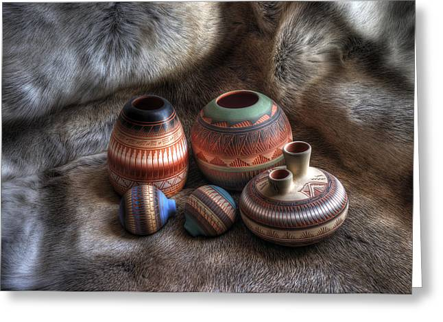 Pottery Greeting Cards - Navajo Pottery Greeting Card by Merja Waters
