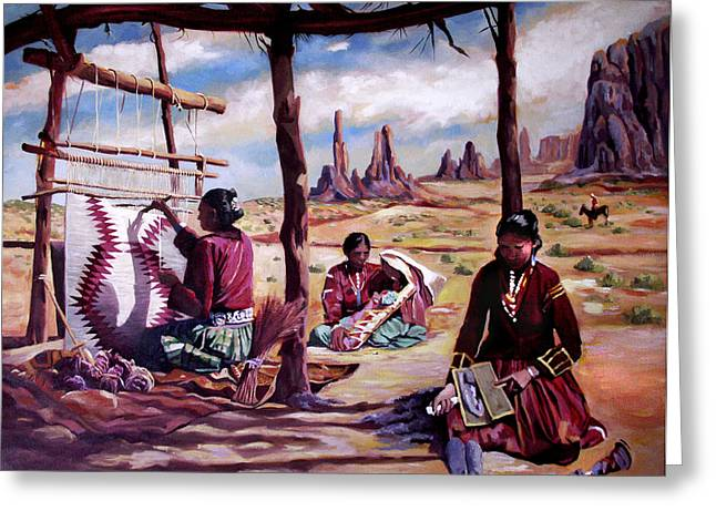 Native American Rug Greeting Cards - Navajo Weavers Greeting Card by Nancy Griswold