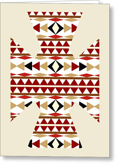 Tribal Decoration Greeting Cards - Navajo White Pattern Aged Greeting Card by Christina Rollo