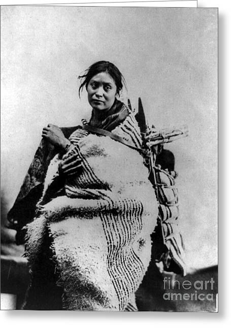 1866 Greeting Cards - NAVAJO WOMAN & CHILD, c1866 Greeting Card by Granger