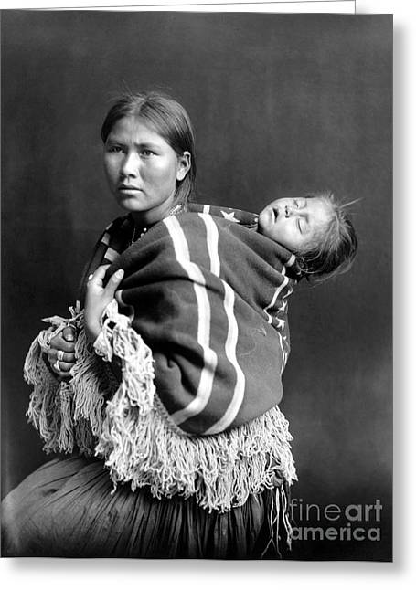 Carrington Greeting Cards - NAVAJO WOMAN & CHILD, c1914 Greeting Card by Granger