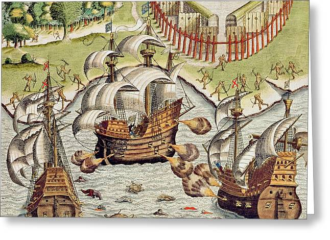 Naval Battle Between The Portuguese And French In The Seas Off The Potiguaran Territories Greeting Card by Theodore de Bry