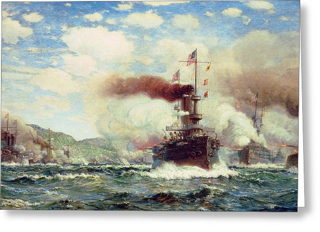 Battle Ship Greeting Cards - Naval Battle Explosion Greeting Card by James Gale Tyler