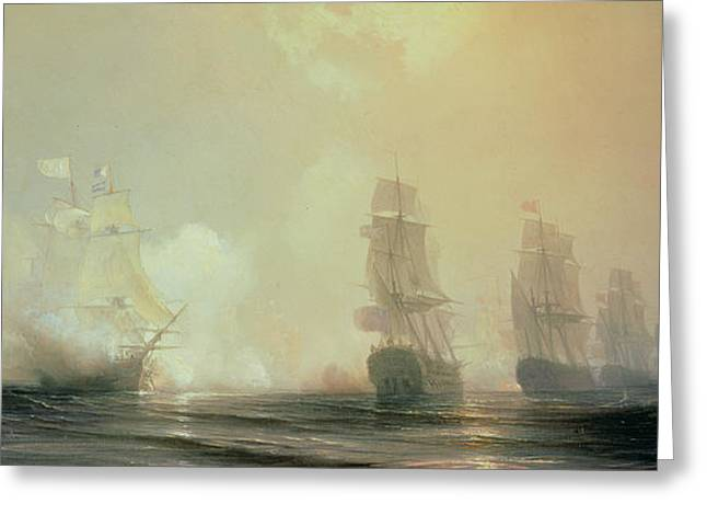 Docked Sailboats Paintings Greeting Cards - Naval Battle in Chesapeake Bay Greeting Card by Jean Antoine Theodore Gudin