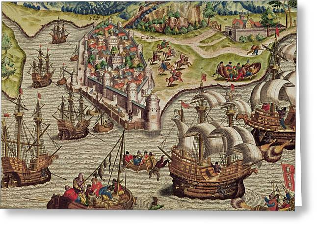 Path Drawings Greeting Cards - Naval Combat Greeting Card by Theodore de Bry