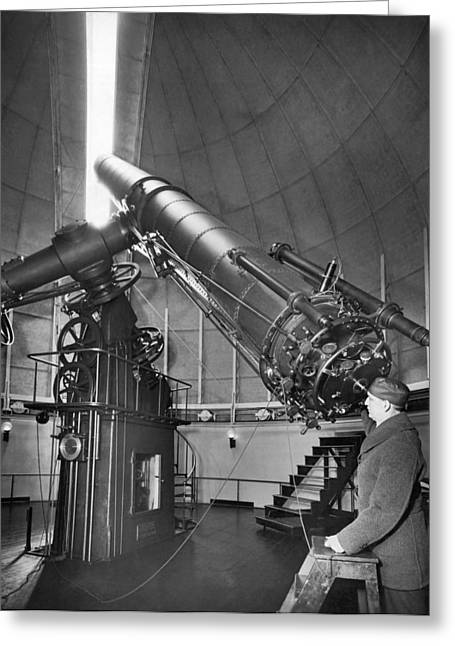 Burton Greeting Cards - Naval Observatory Telescope Greeting Card by Underwood Archives