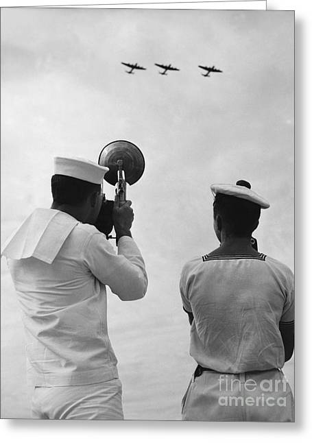 Military Aviation Photos Greeting Cards - Naval Photographer, 1952 Greeting Card by Rapho Agence