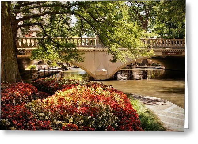 Riverwalk Photographs Greeting Cards - Navarro Street Bridge Greeting Card by Steven Sparks