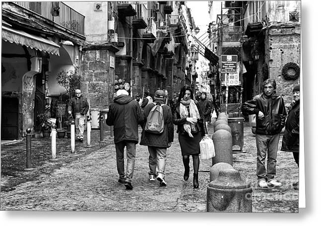 Old Street Greeting Cards - Navigating Naples Greeting Card by John Rizzuto