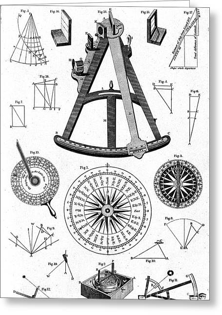Historic Ship Greeting Cards - Navigational Instruments, E.g. Sextant Greeting Card by Wellcome Images