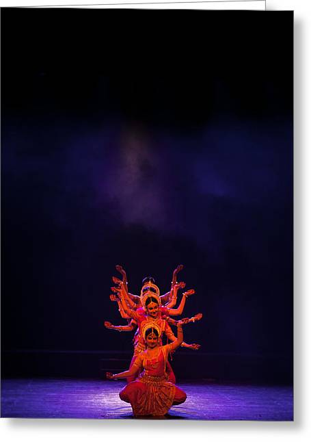 Goddess Durga Greeting Cards - Navratri Durga Greeting Card by Marji  Lang