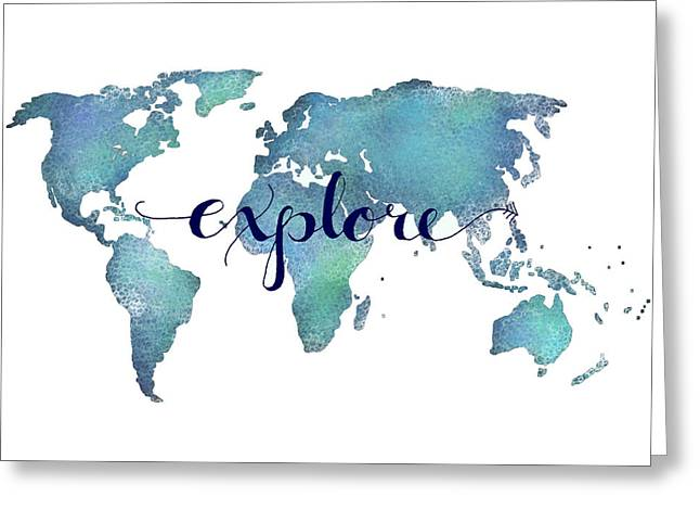 World Greeting Cards - Navy and Teal Explore World Map Greeting Card by Michelle Eshleman