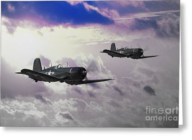 Carrier Greeting Cards - Navy Corsair Greeting Card by J Biggadike