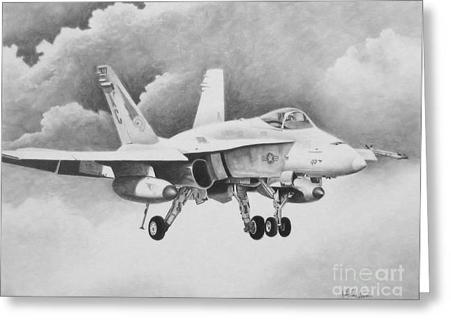 Iraq Drawings Greeting Cards - Navy Hornet Greeting Card by Stephen Roberson