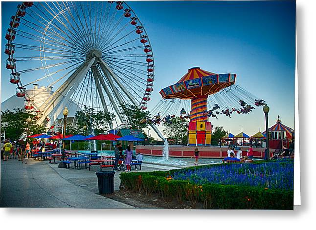 Amusements Greeting Cards - Navy Pier Chicago 9 Greeting Card by Todd and candice Dailey