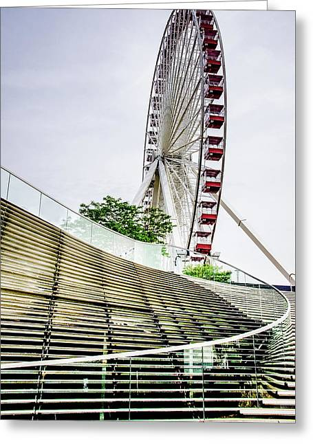 Navy Pier's Old Ferris Wheel Greeting Card by Julie Palencia