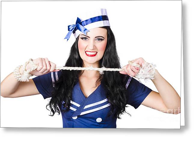 Navy Pin Up Poster Girl Breaking Rope Greeting Card by Jorgo Photography - Wall Art Gallery