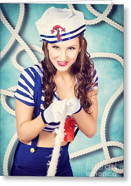 Pull Cord Greeting Cards - Navy sailor pinup girl in tug of war battle Greeting Card by Ryan Jorgensen
