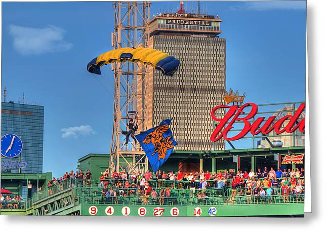 Navy Seals Over Fenway Park - Boston Greeting Card by Joann Vitali