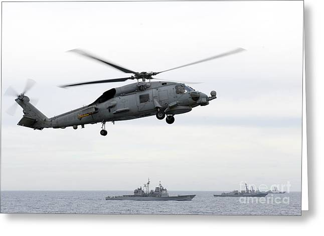 Enterprise Greeting Cards - Navy ships maneuver into formation Greeting Card by Celestial Images