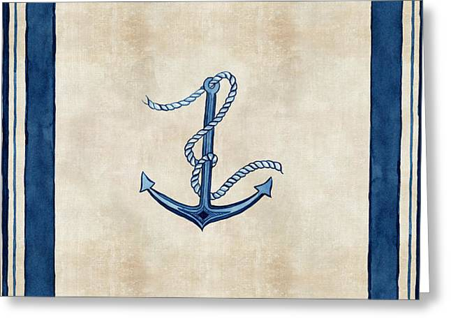 Beach House Paintings Greeting Cards - Indigo Ocean - Nautical Anchor Watercolor Stripes Greeting Card by Audrey Jeanne Roberts
