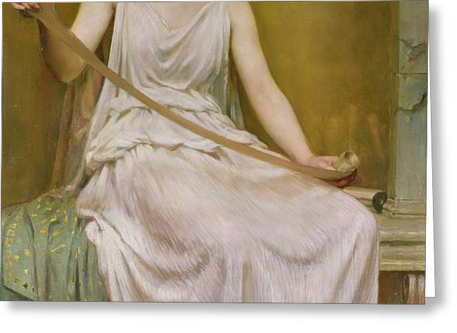 Neaera Reading a Letter from Catullus Greeting Card by Henry John Hudson